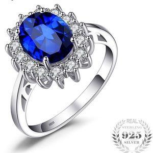 2.68ct. Princess Sapphire Blue Engagement Ring